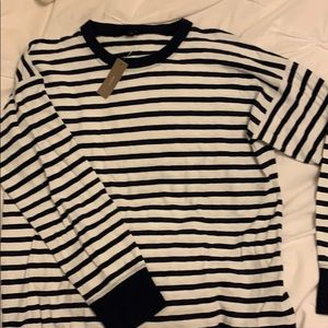 NWT J. Crew navy and white long sleeve sz S